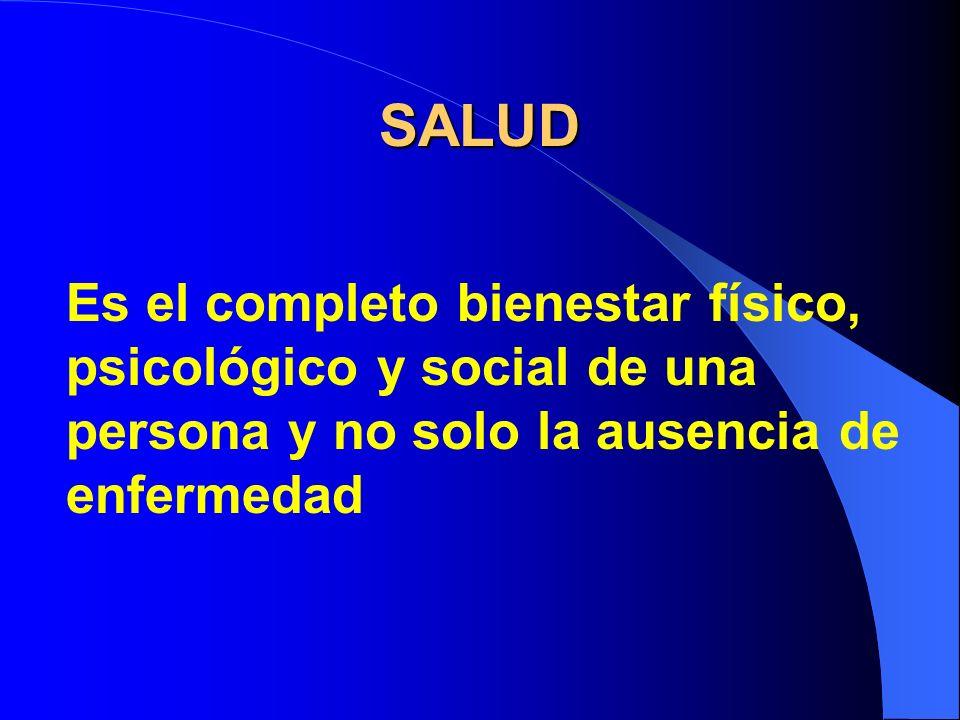 Es el completo bienestar físico, psicológico y social de una persona y no solo la ausencia de enfermedad SALUD