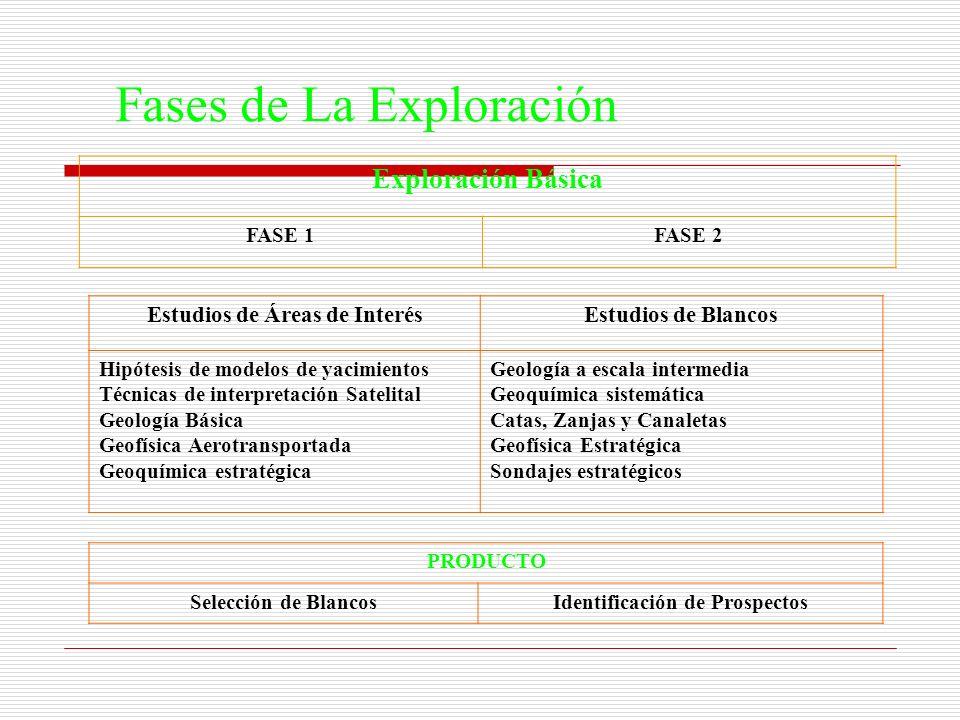 Fases de La Exploración Exploración Básica FASE 1FASE 2 Estudios de Áreas de InterésEstudios de Blancos Hipótesis de modelos de yacimientos Técnicas d