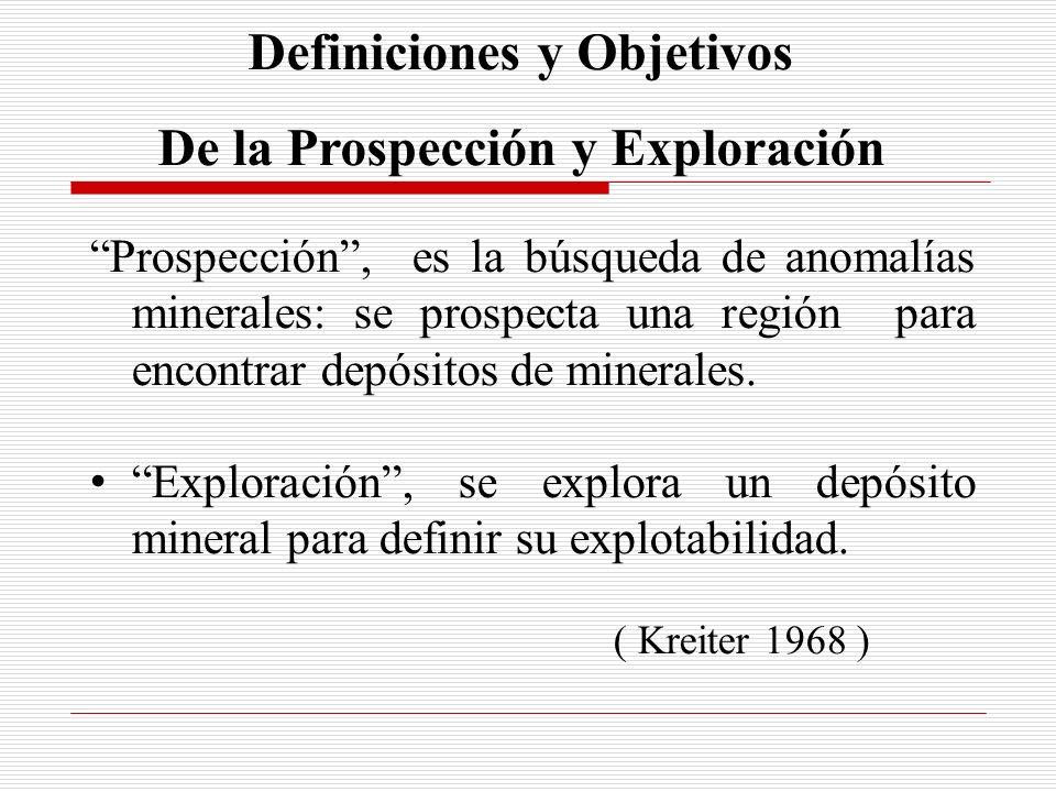 Definiciones y Objetivos De la Prospección y Exploración Prospección, es la búsqueda de anomalías minerales: se prospecta una región para encontrar de