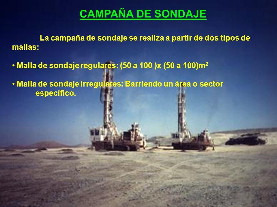 CAMPAÑA DE SONDAJE La campaña de sondaje se realiza a partir de dos tipos de mallas: Malla de sondaje regulares: (50 a 100 )x (50 a 100)m 2 Malla de s