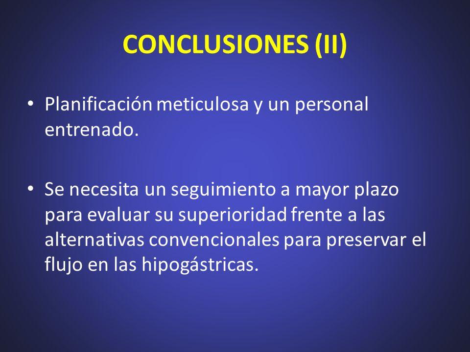 CONCLUSIONES (II) Planificación meticulosa y un personal entrenado. Se necesita un seguimiento a mayor plazo para evaluar su superioridad frente a las