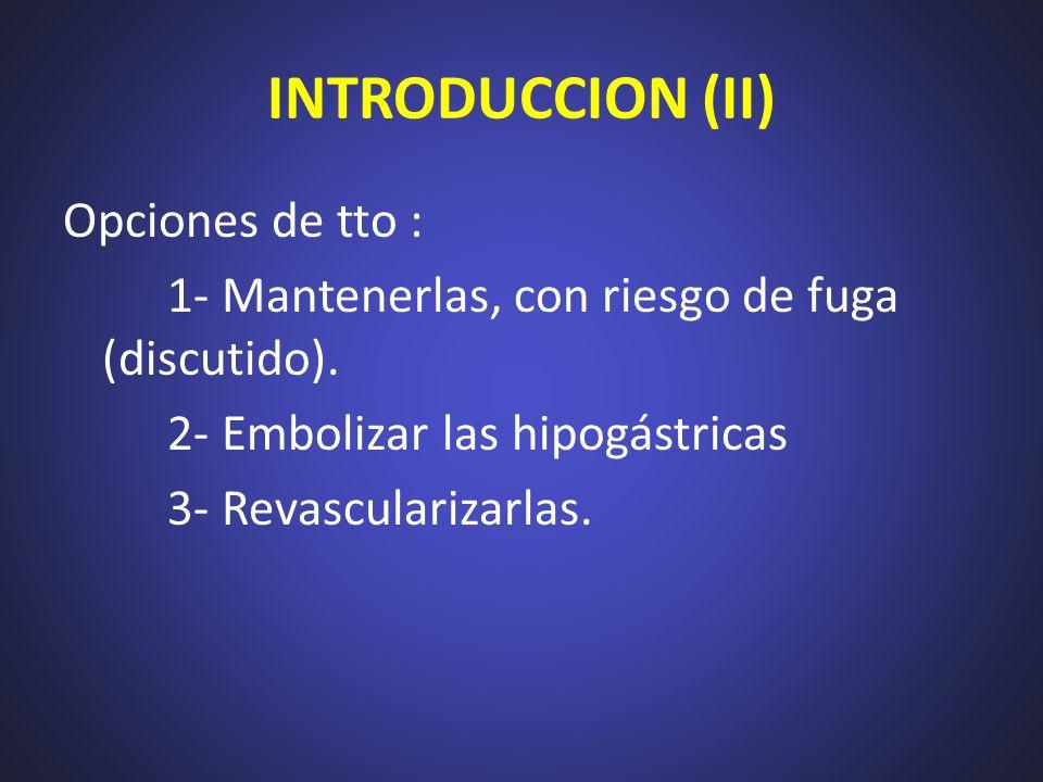 INTRODUCCION (II) Opciones de tto : 1- Mantenerlas, con riesgo de fuga (discutido). 2- Embolizar las hipogástricas 3- Revascularizarlas.