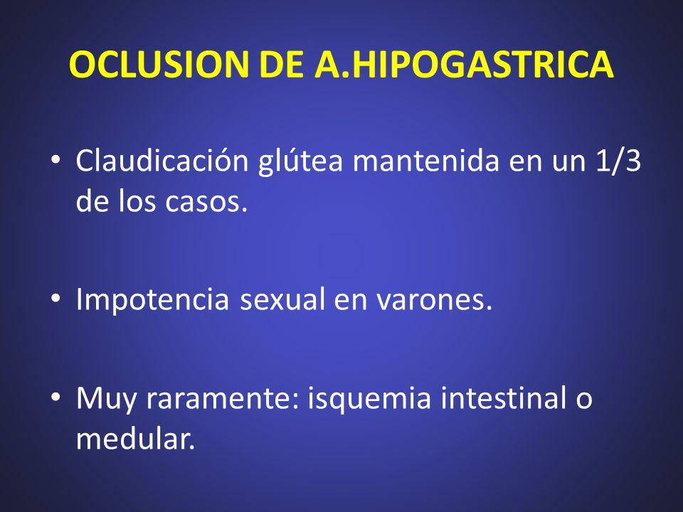 OCLUSION DE A.HIPOGASTRICA Claudicación glútea mantenida en un 1/3 de los casos. Impotencia sexual en varones. Muy raramente: isquemia intestinal o me