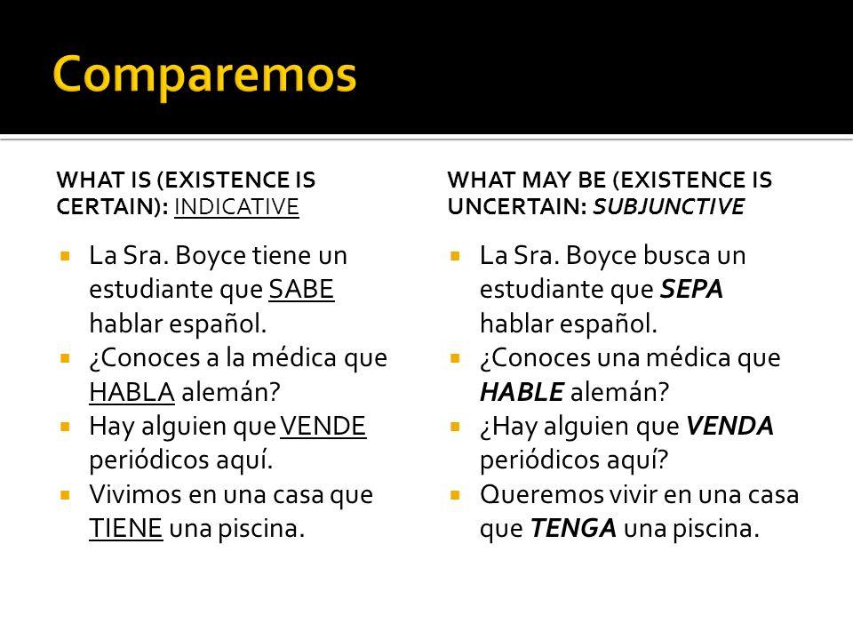WHAT IS (EXISTENCE IS CERTAIN): INDICATIVE La Sra. Boyce tiene un estudiante que SABE hablar español. ¿Conoces a la médica que HABLA alemán? Hay algui