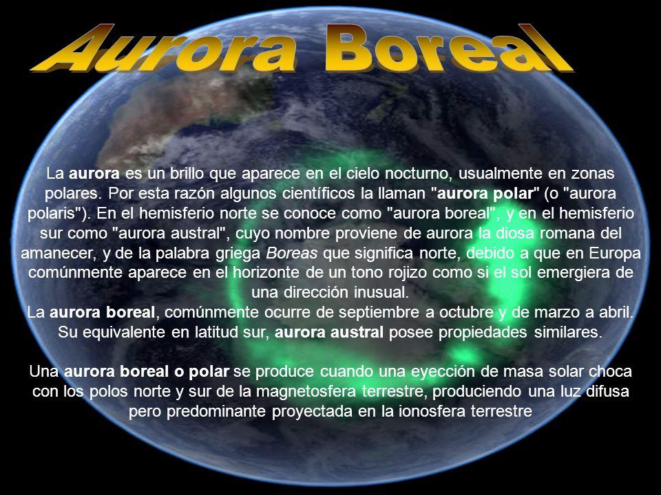 AURORA BOREAL La aurora es un brillo que aparece en el cielo nocturno, usualmente en zonas polares. Por esta razón algunos científicos la llaman