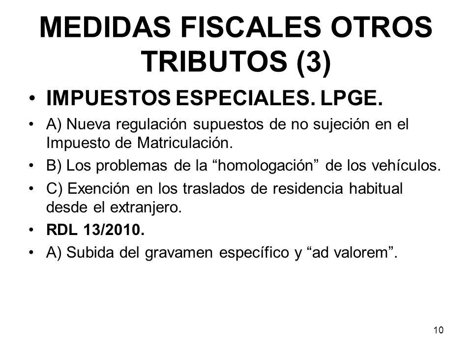 MEDIDAS FISCALES OTROS TRIBUTOS (3) IMPUESTOS ESPECIALES. LPGE. A) Nueva regulación supuestos de no sujeción en el Impuesto de Matriculación. B) Los p