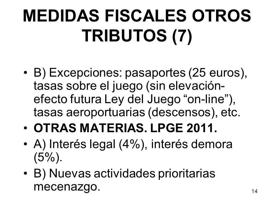 14 MEDIDAS FISCALES OTROS TRIBUTOS (7) B) Excepciones: pasaportes (25 euros), tasas sobre el juego (sin elevación- efecto futura Ley del Juego on-line