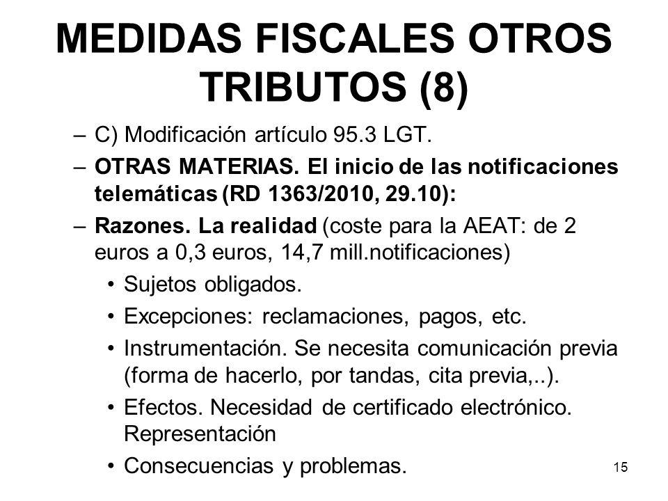 MEDIDAS FISCALES OTROS TRIBUTOS (8) –C) Modificación artículo 95.3 LGT. –OTRAS MATERIAS. El inicio de las notificaciones telemáticas (RD 1363/2010, 29