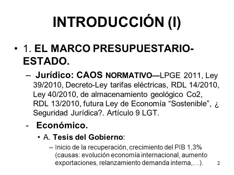 2 INTRODUCCIÓN (I) 1. EL MARCO PRESUPUESTARIO- ESTADO. – Jurídico: CAOS NORMATIVOLPGE 2011, Ley 39/2010, Decreto-Ley tarifas eléctricas, RDL 14/2010,