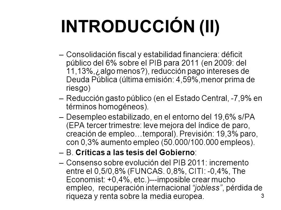 3 INTRODUCCIÓN (II) –Consolidación fiscal y estabilidad financiera: déficit público del 6% sobre el PIB para 2011 (en 2009: del 11,13%,¿algo menos?),
