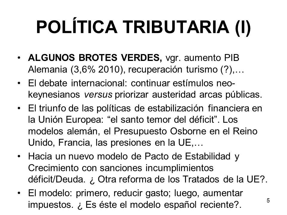 5 POLÍTICA TRIBUTARIA (I) ALGUNOS BROTES VERDES, vgr. aumento PIB Alemania (3,6% 2010), recuperación turismo (?),… El debate internacional: continuar