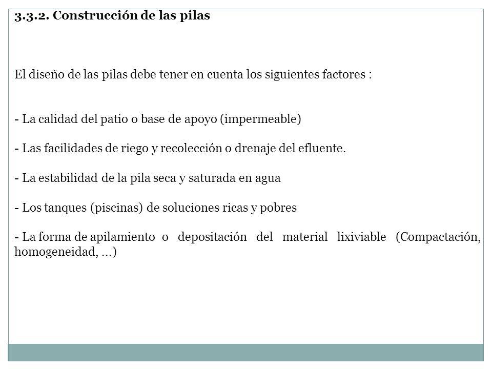 3.3.2. Construcción de las pilas El diseño de las pilas debe tener en cuenta los siguientes factores : - La calidad del patio o base de apoyo (imperme