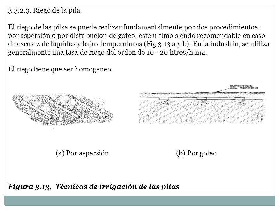 3.3.2.3. Riego de la pila El riego de las pilas se puede realizar fundamentalmente por dos procedimientos : por aspersión o por distribución de goteo,