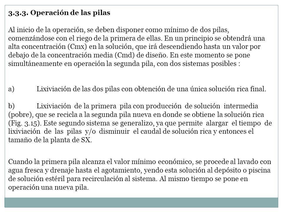 3.3.3. Operación de las pilas Al inicio de la operación, se deben disponer como mínimo de dos pilas, comenzándose con el riego de la primera de ellas.