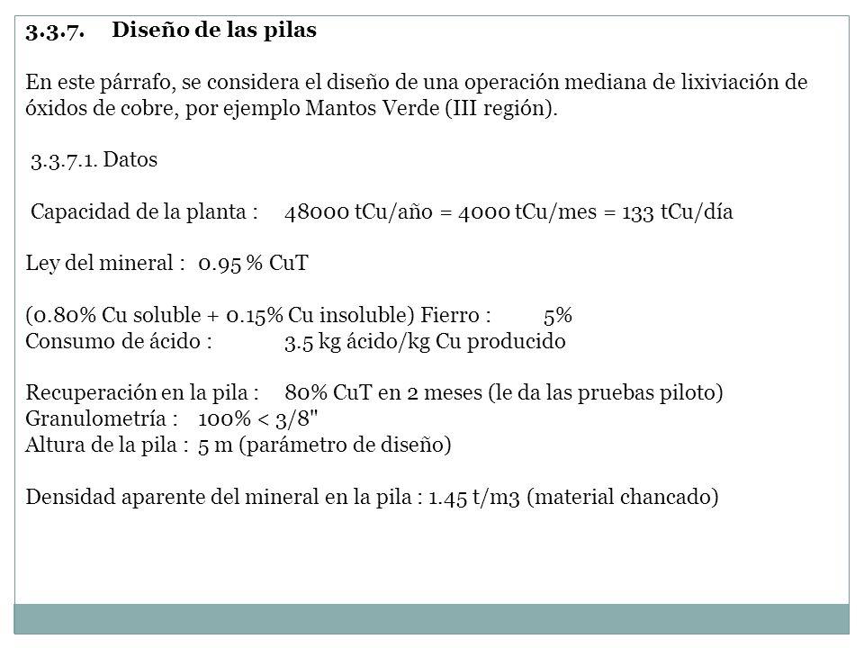 3.3.7.Diseño de las pilas En este párrafo, se considera el diseño de una operación mediana de lixiviación de óxidos de cobre, por ejemplo Mantos Verde