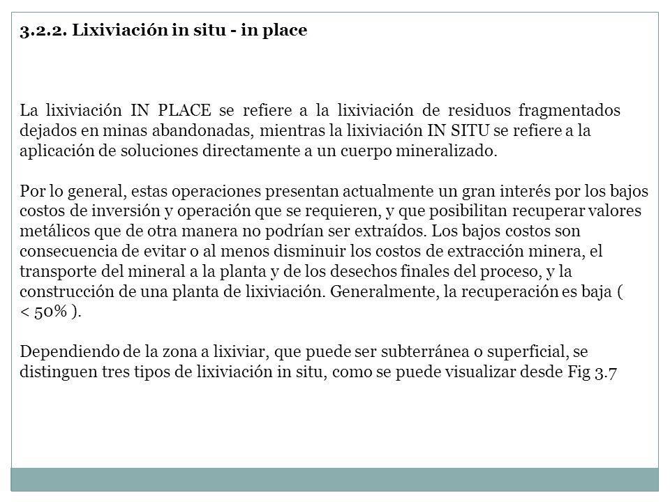 3.2.2. Lixiviación in situ - in place La lixiviación IN PLACE se refiere a la lixiviación de residuos fragmentados dejados en minas abandonadas, mient