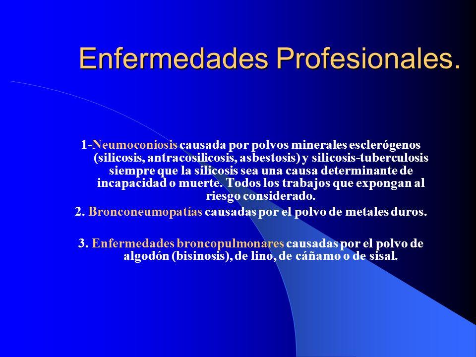 Enfermedades Profesionales. 1-Neumoconiosis causada por polvos minerales esclerógenos (silicosis, antracosilicosis, asbestosis) y silicosis-tuberculos