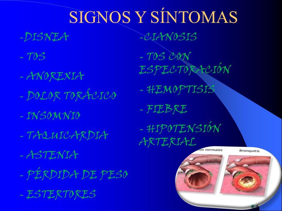 SIGNOS Y SÍNTOMAS -DISNEA - TOS - ANOREXIA - DOLOR TORÁCICO - INSOMNIO - TAQUICARDIA - ASTENIA - PÉRDIDA DE PESO - ESTERTORES -CIANOSIS - TOS CON ESPE