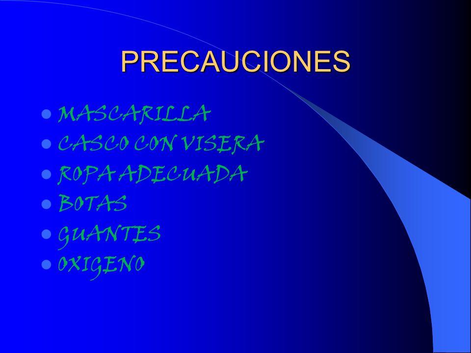PRECAUCIONES MASCARILLA CASCO CON VISERA ROPA ADECUADA BOTAS GUANTES OXIGENO