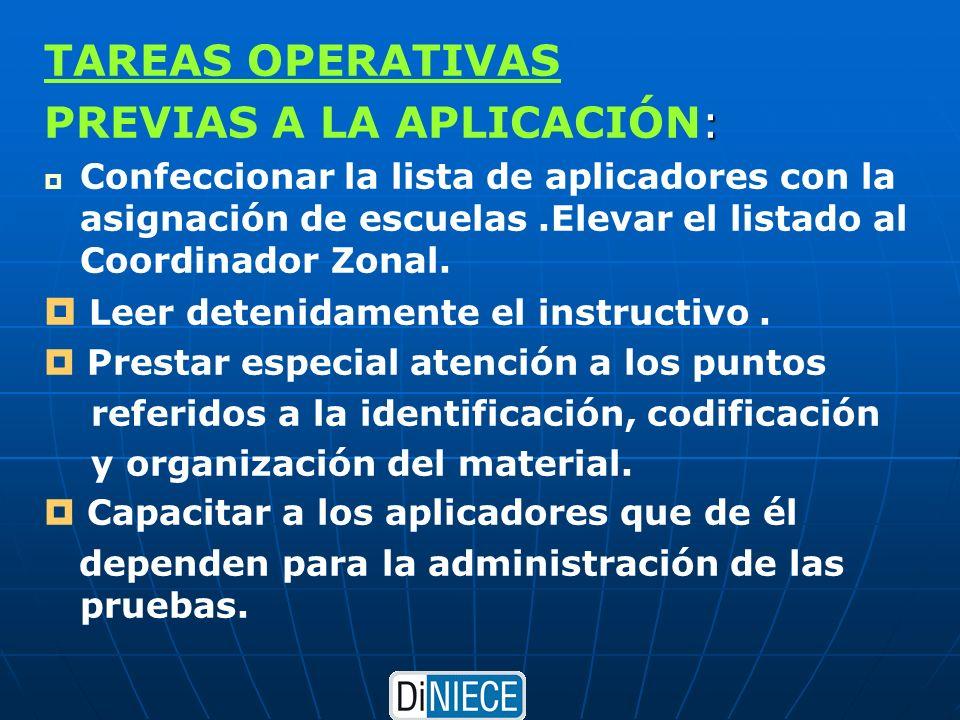 TAREAS OPERATIVAS : PREVIAS A LA APLICACIÓN: Confeccionar la lista de aplicadores con la asignación de escuelas.Elevar el listado al Coordinador Zonal.