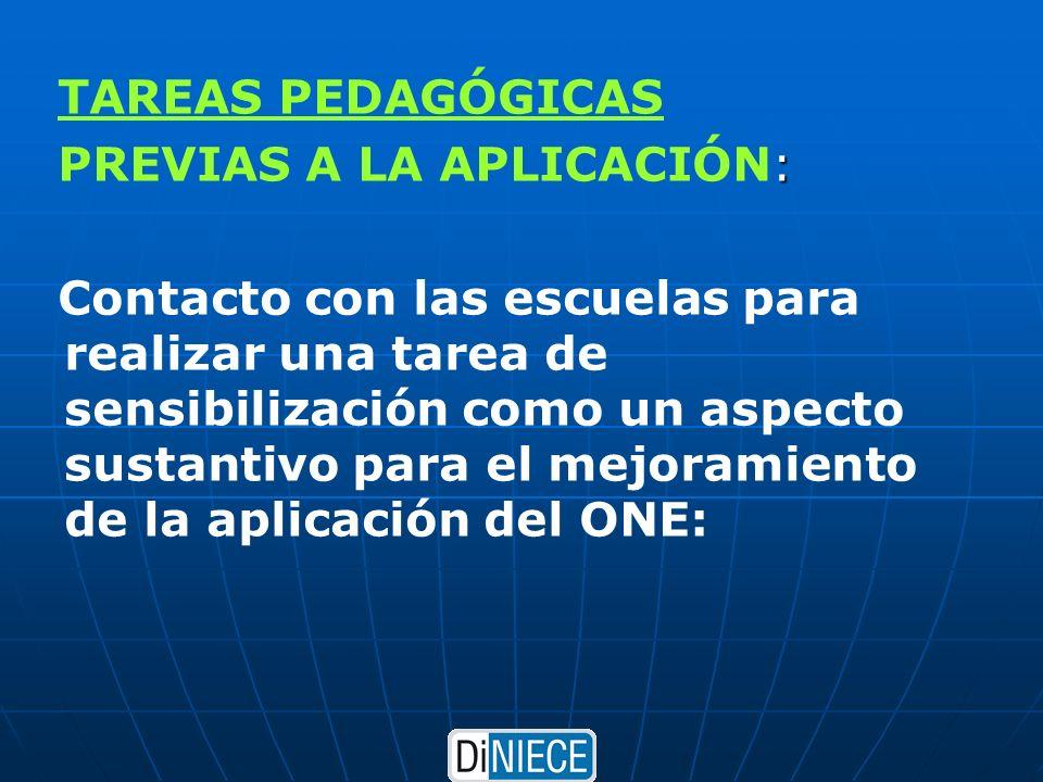 TAREAS PEDAGÓGICAS : PREVIAS A LA APLICACIÓN: Contacto con las escuelas para realizar una tarea de sensibilización como un aspecto sustantivo para el mejoramiento de la aplicación del ONE:
