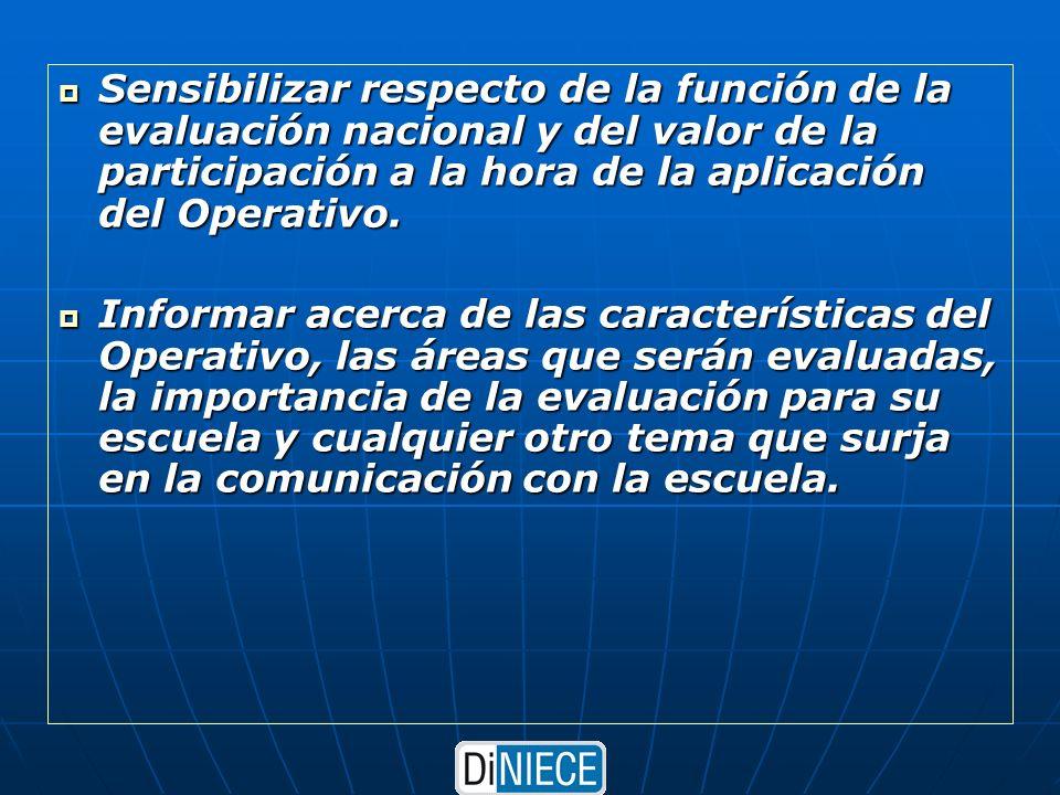 Sensibilizar respecto de la función de la evaluación nacional y del valor de la participación a la hora de la aplicación del Operativo.