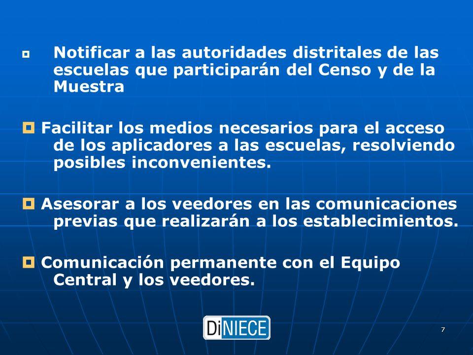 DiNIECE 7 Notificar a las autoridades distritales de las escuelas que participarán del Censo y de la Muestra Facilitar los medios necesarios para el acceso de los aplicadores a las escuelas, resolviendo posibles inconvenientes.