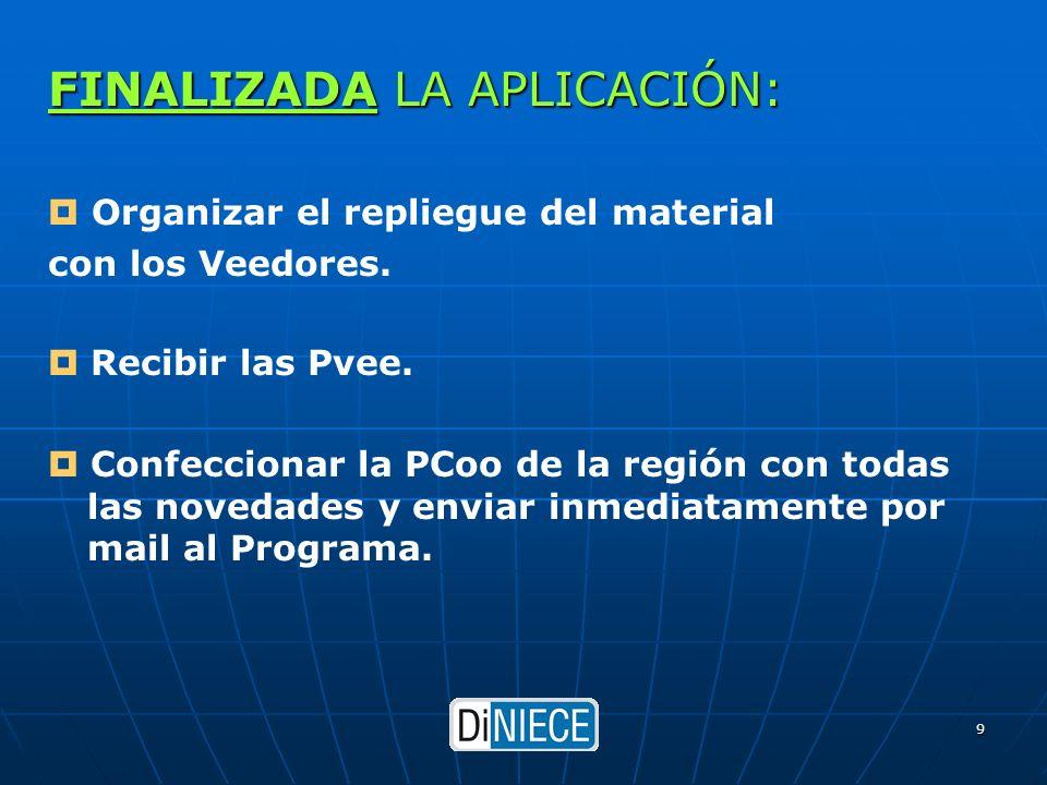 DiNIECE 9 FINALIZADA LA APLICACIÓN: Organizar el repliegue del material con los Veedores.