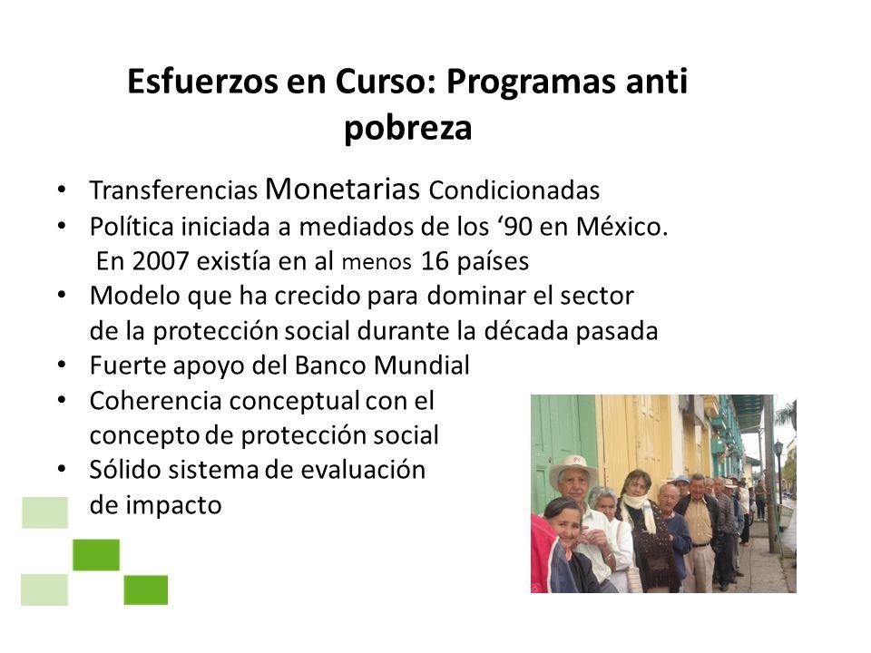 Esfuerzos en Curso: Programas anti pobreza Transferencias Monetarias Condicionadas Política iniciada a mediados de los 90 en México. En 2007 existía e