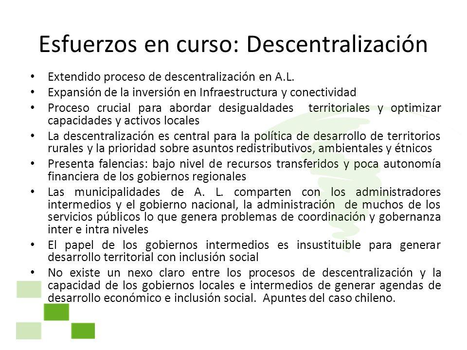 Esfuerzos en curso: Descentralización Extendido proceso de descentralización en A.L. Expansión de la inversión en Infraestructura y conectividad Proce