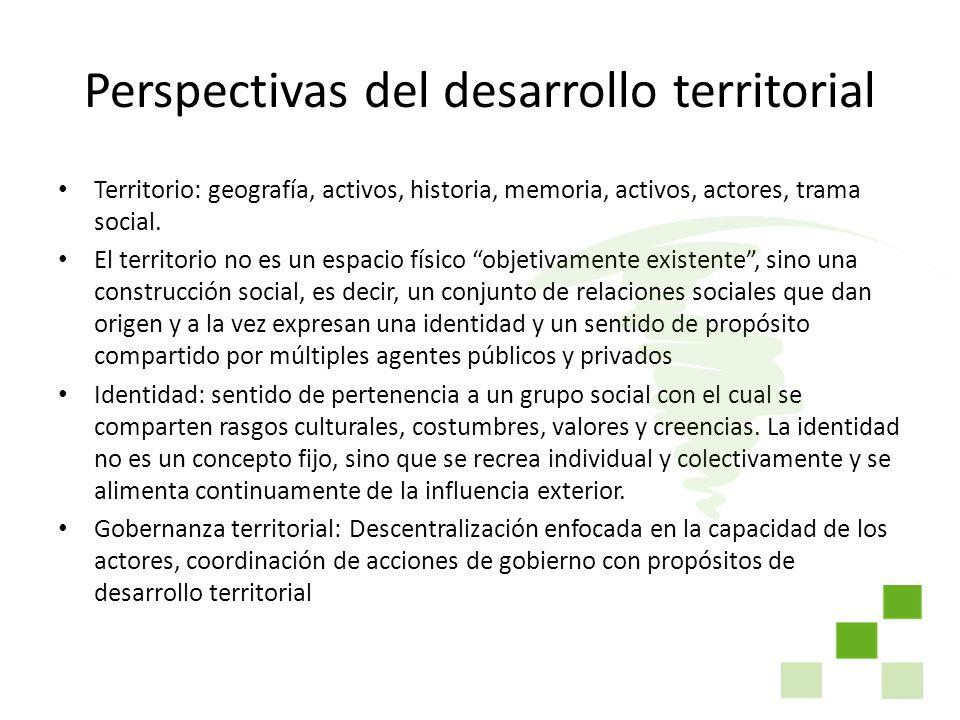 Perspectivas del desarrollo territorial Territorio: geografía, activos, historia, memoria, activos, actores, trama social. El territorio no es un espa