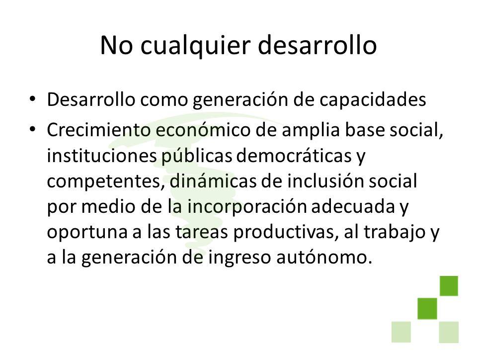 No cualquier desarrollo Desarrollo como generación de capacidades Crecimiento económico de amplia base social, instituciones públicas democráticas y c