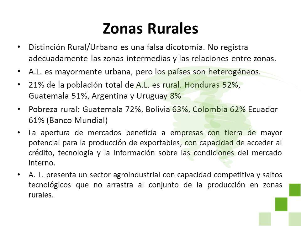 Zonas Rurales Distinción Rural/Urbano es una falsa dicotomía. No registra adecuadamente las zonas intermedias y las relaciones entre zonas. A.L. es ma