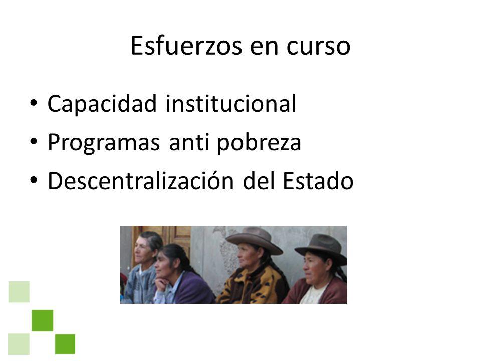 Esfuerzos en curso Capacidad institucional Programas anti pobreza Descentralización del Estado