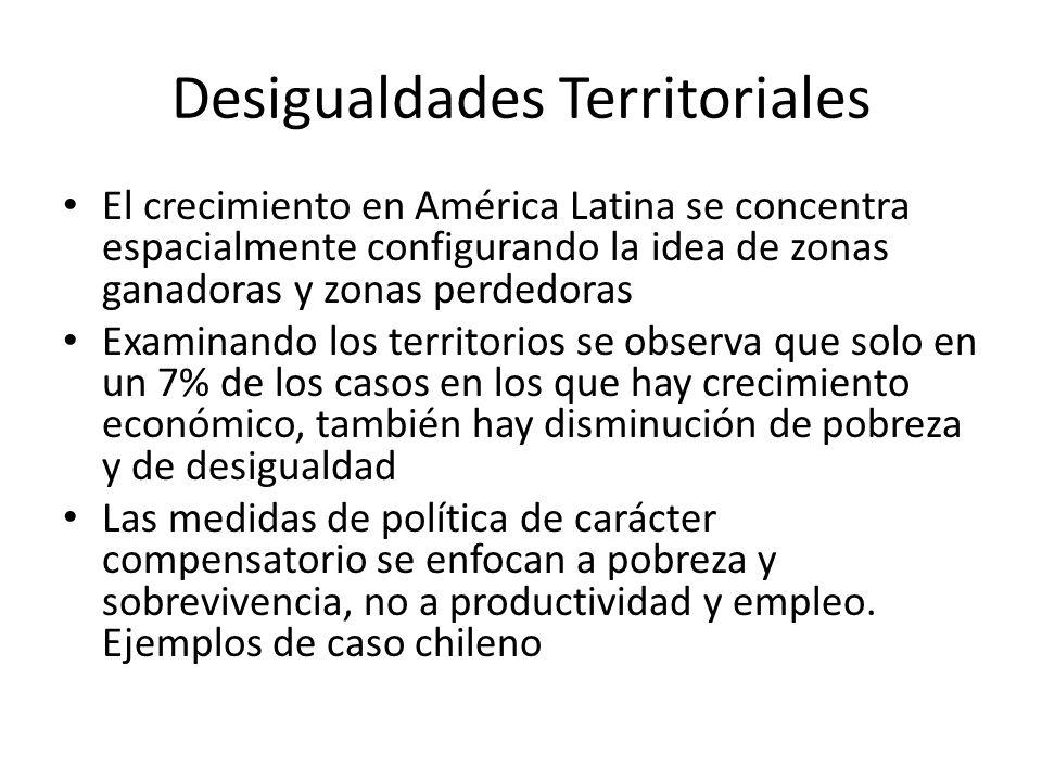 Desigualdades Territoriales El crecimiento en América Latina se concentra espacialmente configurando la idea de zonas ganadoras y zonas perdedoras Exa