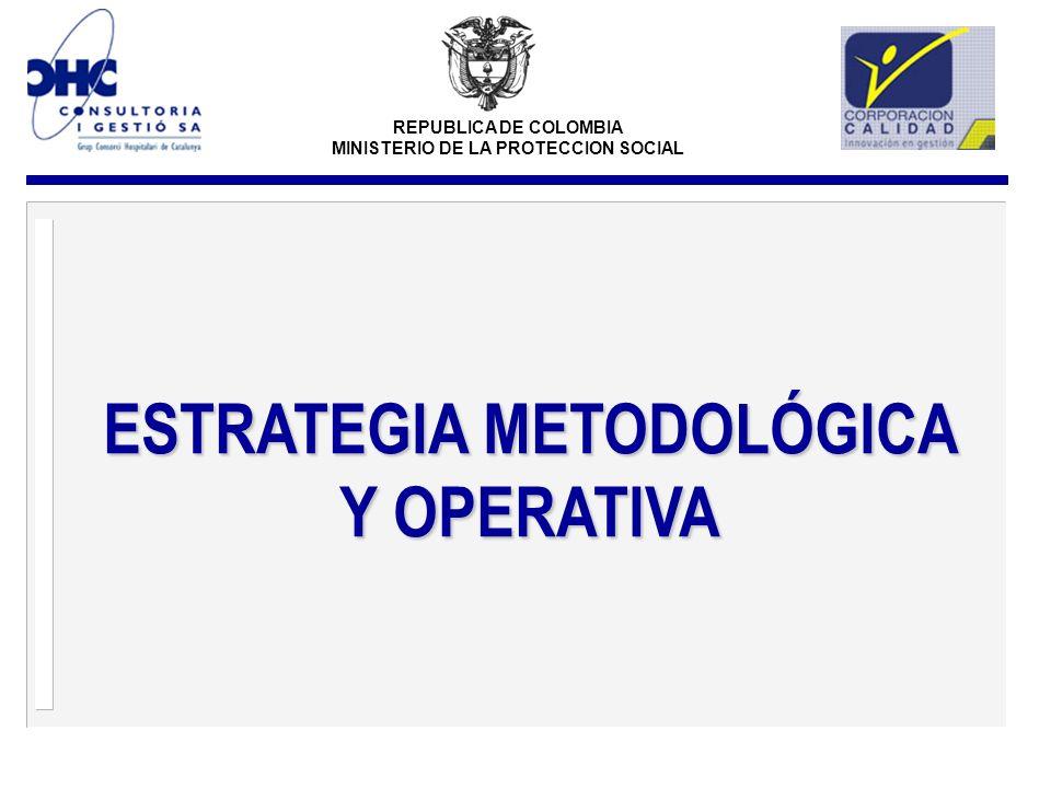 REPUBLICA DE COLOMBIA MINISTERIO DE LA PROTECCION SOCIAL ESTRATEGIA METODOLÓGICA Y OPERATIVA