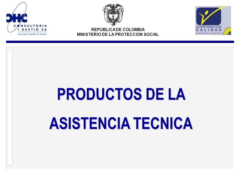 REPUBLICA DE COLOMBIA MINISTERIO DE LA PROTECCION SOCIAL PRODUCTOS DE LA ASISTENCIA TECNICA