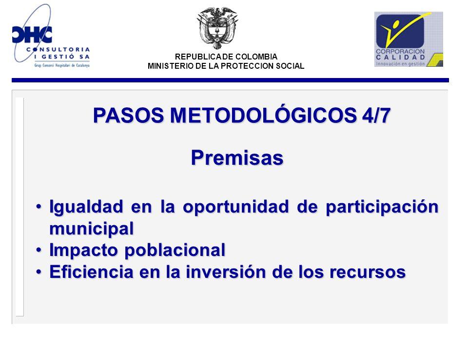 REPUBLICA DE COLOMBIA MINISTERIO DE LA PROTECCION SOCIAL Premisas Igualdad en la oportunidad de participación municipalIgualdad en la oportunidad de participación municipal Impacto poblacionalImpacto poblacional Eficiencia en la inversión de los recursosEficiencia en la inversión de los recursos PASOS METODOLÓGICOS 4/7