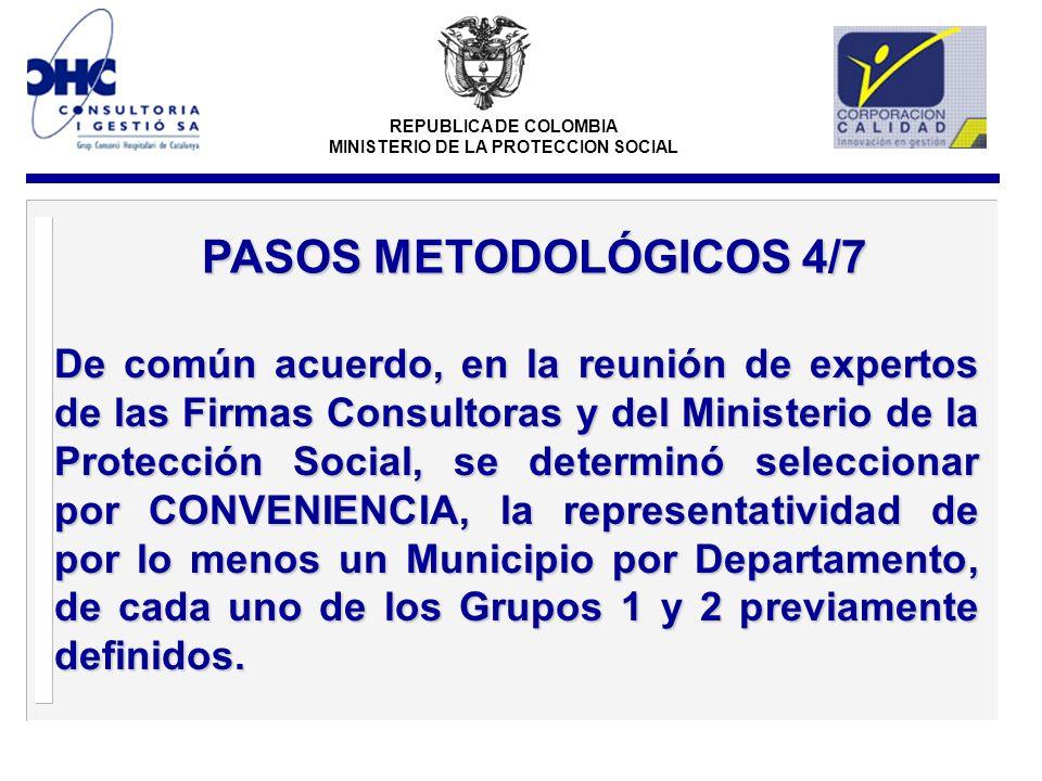 REPUBLICA DE COLOMBIA MINISTERIO DE LA PROTECCION SOCIAL De común acuerdo, en la reunión de expertos de las Firmas Consultoras y del Ministerio de la