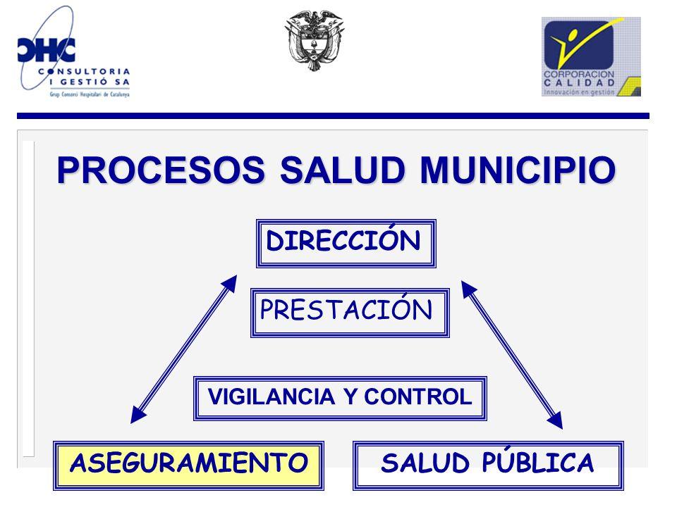DIRECCIÓN ASEGURAMIENTOSALUD PÚBLICA VIGILANCIA Y CONTROL PROCESOS SALUD MUNICIPIO PRESTACIÓN
