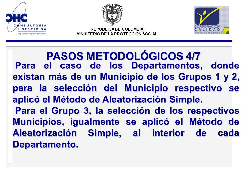 REPUBLICA DE COLOMBIA MINISTERIO DE LA PROTECCION SOCIAL Para el caso de los Departamentos, donde existan más de un Municipio de los Grupos 1 y 2, para la selección del Municipio respectivo se aplicó el Método de Aleatorización Simple.