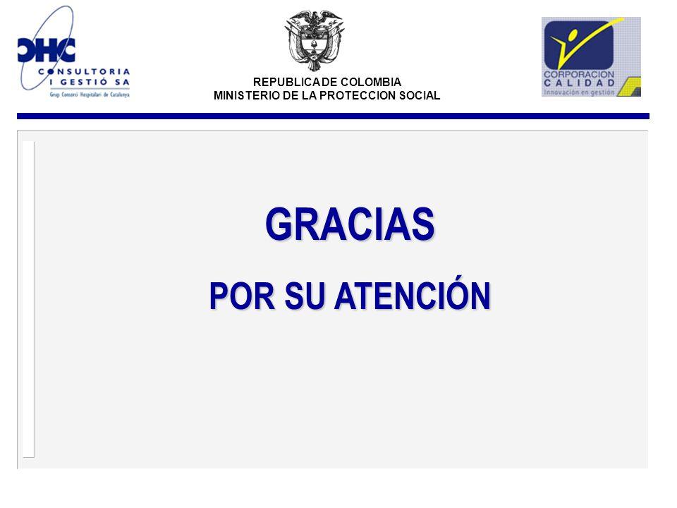REPUBLICA DE COLOMBIA MINISTERIO DE LA PROTECCION SOCIAL GRACIAS POR SU ATENCIÓN