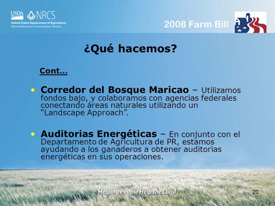 20 Corredor del Bosque Maricao – Utilizamos fondos bajo, y colaboramos con agencias federales conectando áreas naturales utilizando un Landscape Appro