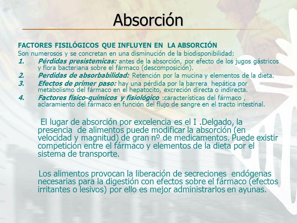 Absorción FACTORES FISILÓGICOS QUE INFLUYEN EN LA ABSORCIÓN Son numerosos y se concretan en una disminución de la biodisponibilidad: 1.Pérdidas presis