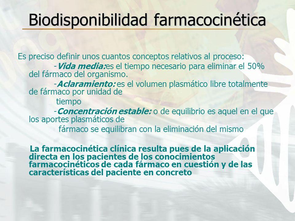 Biodisponibilidad farmacocinética Es preciso definir unos cuantos conceptos relativos al proceso: -Vida media:es el tiempo necesario para eliminar el