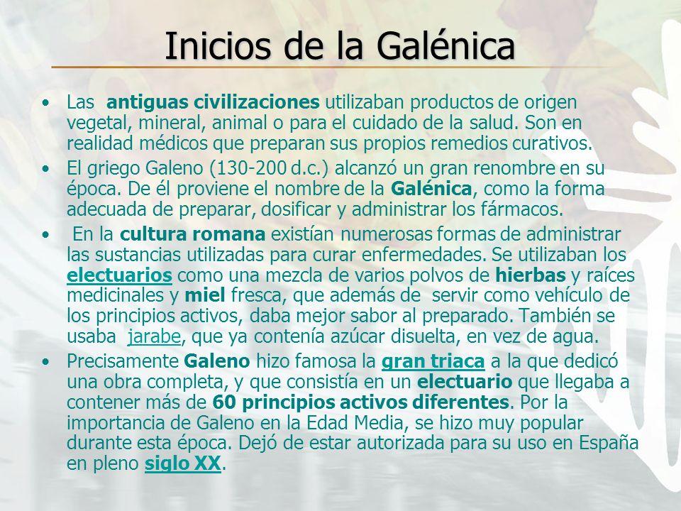 Inicios de la Galénica Las antiguas civilizaciones utilizaban productos de origen vegetal, mineral, animal o para el cuidado de la salud. Son en reali