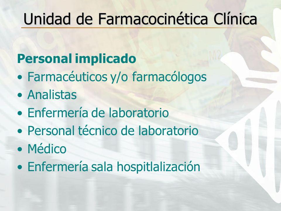 Unidad de Farmacocinética Clínica Personal implicado Farmacéuticos y/o farmacólogos Analistas Enfermería de laboratorio Personal técnico de laboratori