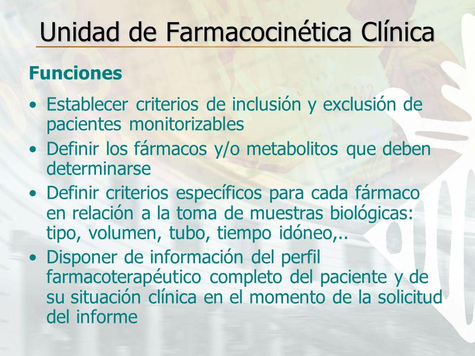 Unidad de Farmacocinética Clínica Funciones Establecer criterios de inclusión y exclusión de pacientes monitorizables Definir los fármacos y/o metabol