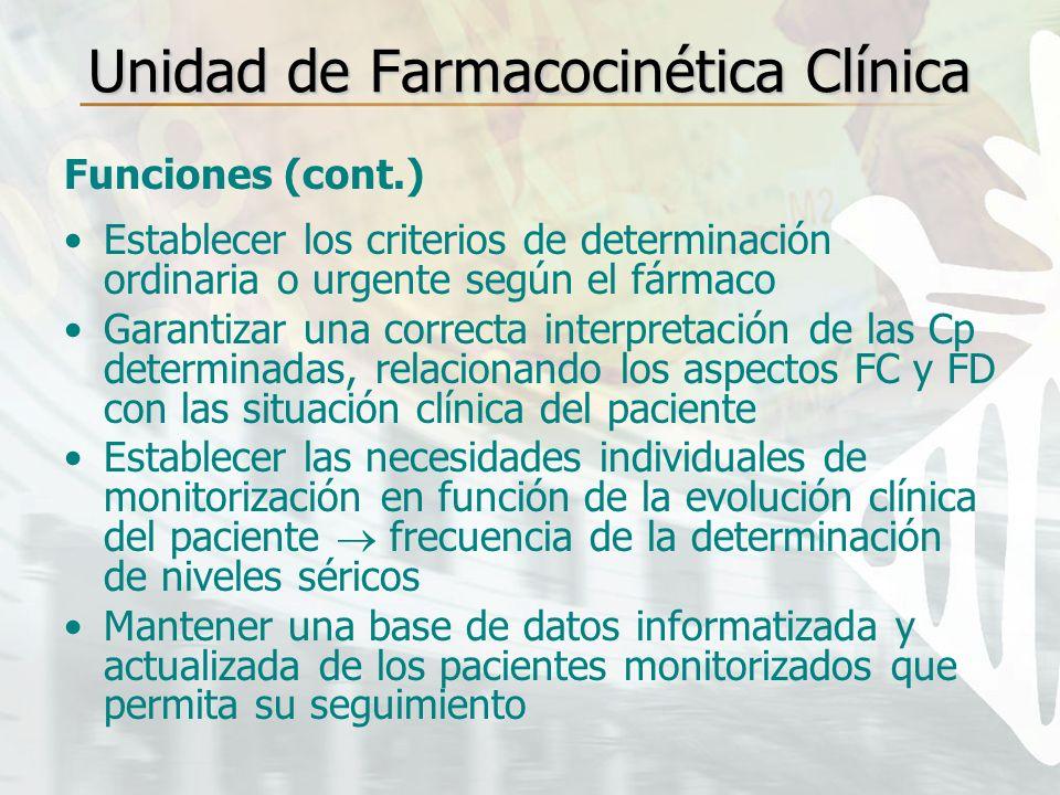 Unidad de Farmacocinética Clínica Funciones (cont.) Establecer los criterios de determinación ordinaria o urgente según el fármaco Garantizar una corr