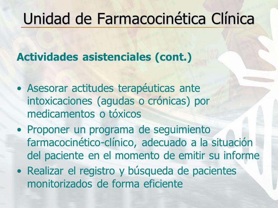 Unidad de Farmacocinética Clínica Actividades asistenciales (cont.) Asesorar actitudes terapéuticas ante intoxicaciones (agudas o crónicas) por medica